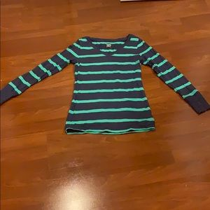 Blue and green stripes shirt